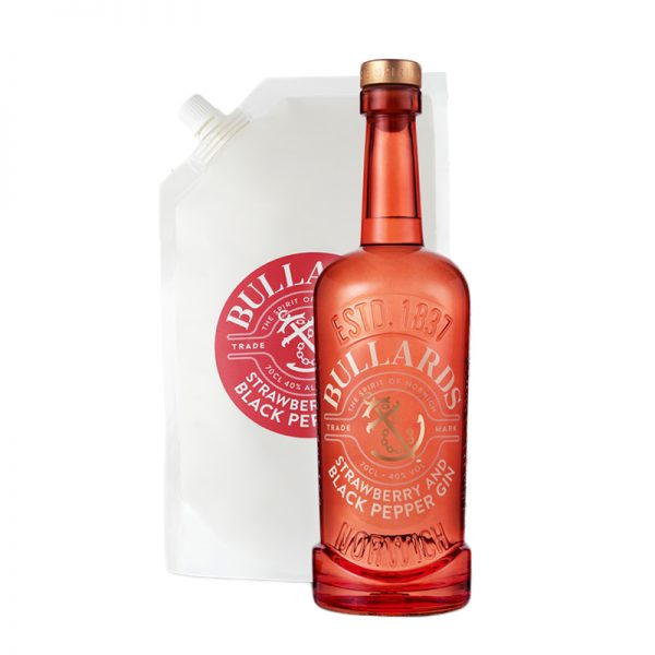 Bullards Strawberry And Black Pepper Gin Bottle & Refill Pouch